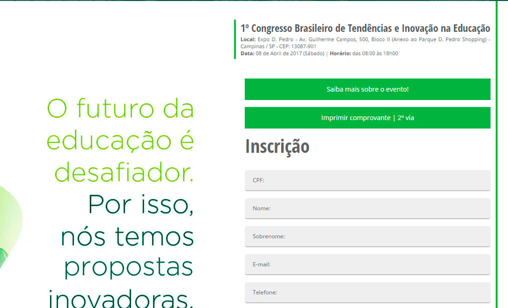 Hotsite para Evento do IBFE